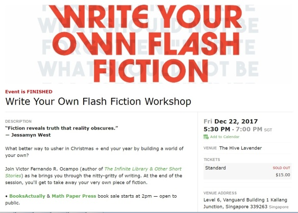 Flash Fiction Workshop 2018